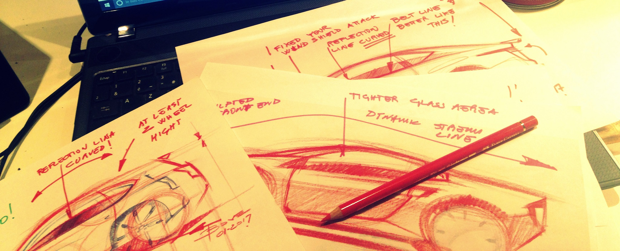 Corrections sample about sketching cars by Luciano Bove