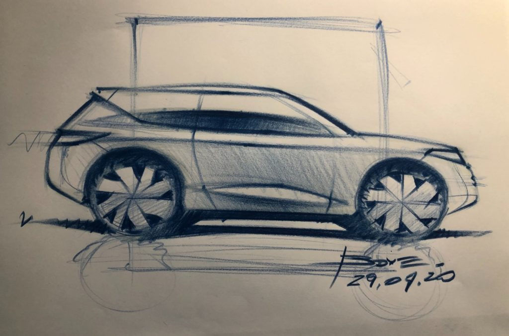 Car sketch in side view , a tutorial in 3 steps